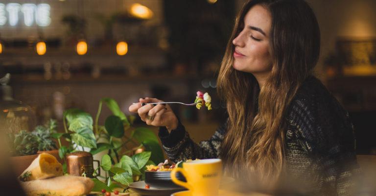 domestic image of girl enjoying her food